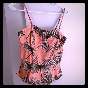 Smocked palm print peplum top